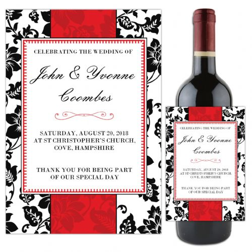 Personalised Red and Black Wedding Table Favour Wine / Champagne Bottle Label N48